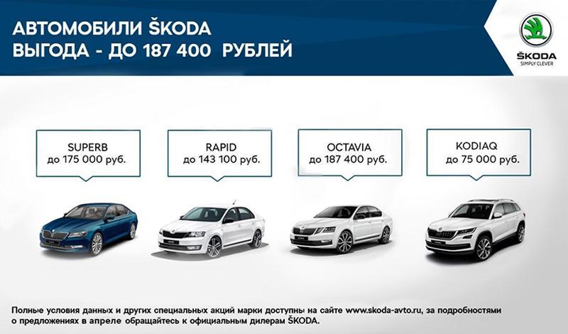 На модели RAPID и OCTAVIA выгода в апреле составит до 187 400 рублей