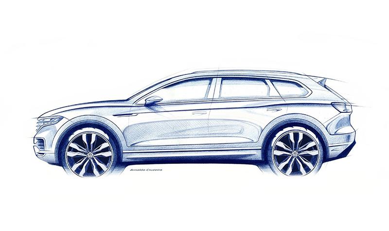 Volkswagen Touareg 2018 года в третьем поколении будет официально представлен 23 марта 2018 года в Пекине