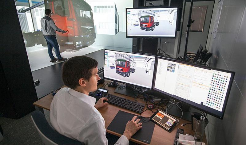 Новые грузовые автомобили и автобусы MAN обретают форму в камере виртуальной реальности под названием CAVE