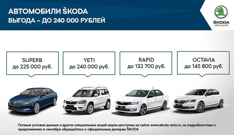 Skoda:В сентябре ŠKODA AUTO Россия запускает специальные предложения на покупку автомобилей